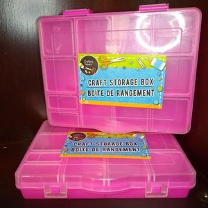 Other - 2/pcs Multi-Purpose Pink Plastic Craft Boxes